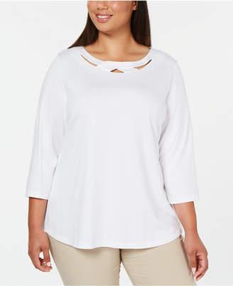 Karen Scott Plus Size 3/4-Sleeve Cutout Top