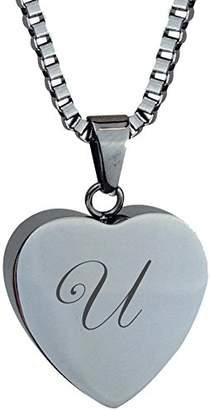Ash Love to Treasure Personalized Letter Heart Urn Pendant Memorial Cremation Jewellery Engraving (U)