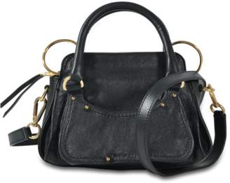 See by Chloe Miya Small Double Function Shoulder Bag in Black Grained Cowskin and Suede