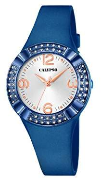 Calypso Women's Quartz Watch with White Dial Analogue Display and Blue Plastic Strap K5659/5