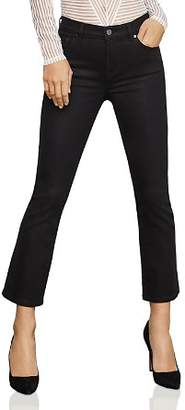 BCBGMAXAZRIA Coated Cropped Bootcut Jeans in Black