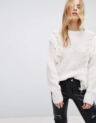 New Look Fringe Whipstitch Sweater
