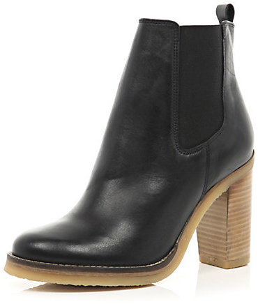 River Island Womens Black leather crepe sole Chelsea boots