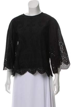 Tory Burch Embroidered Cut-Out Tunic