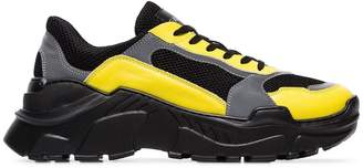 Balmain black, yellow and grey jace technical sneakers