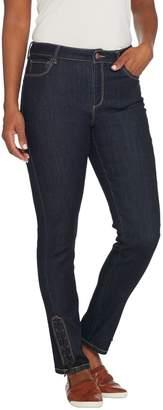 Susan Graver Stretch Denim Slim-Leg Pants w/ Faux Leather Lacing