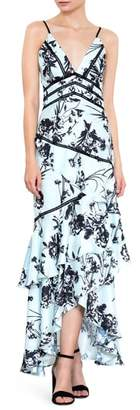 Harlyn Floral Print Ruffle Gown