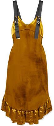 Mother of Pearl Florence Ruffled Velvet Midi Dress - Gold
