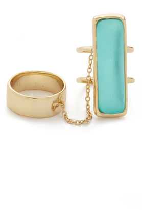 Alexis Bittar Elongated Double Band Ring Set $165 thestylecure.com