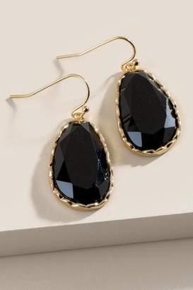 francesca's Whit Faceted Drop Earrings - Black