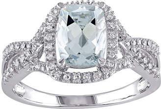 FINE JEWELRY Genuine Aquamarine and 1/6 CT. T.W. Diamond Criss-Cross Ring