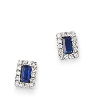 KC Designs 14K White Gold Mosaic Sapphire Baguette & Diamond Stud Earrings