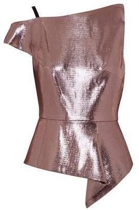 Roland Mouret Holmas One-Shoulder Textured-Lamé Peplum Top
