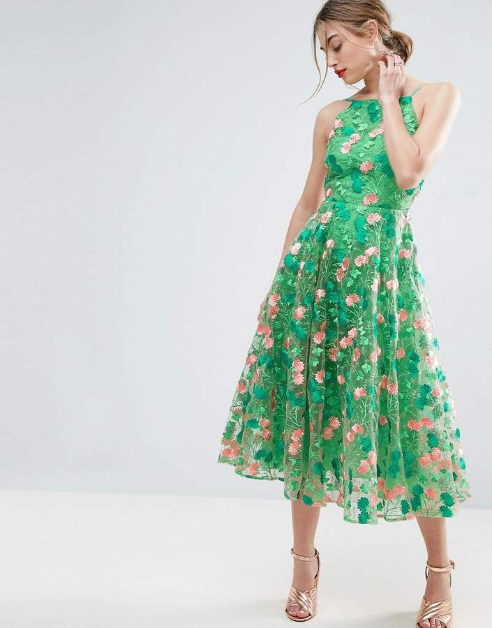 ASOS SALON Floral Embroidered Backless Pinny Midi Prom Dress