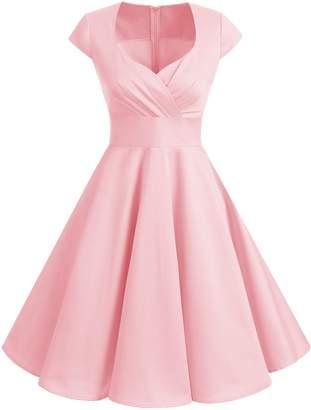 Bbonlinedress 1950s Summer Vintage Sweetheart Classy Rockabilly Cocktail Swing Dress XS