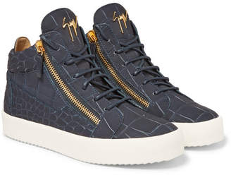 Giuseppe Zanotti Croc-Effect Leather High-Top Sneakers - Men - Navy