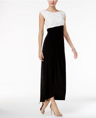 Connected Floral Soutache Faux-Wrap Gown $89 thestylecure.com