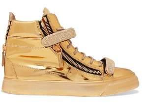 Giuseppe Zanotti Design Metallic Embellished Leather High-Top Sneakers
