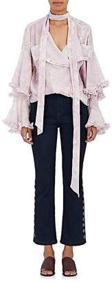 Chloé Women's Floral-Print Chiffon Tiered-Sleeve Blouse
