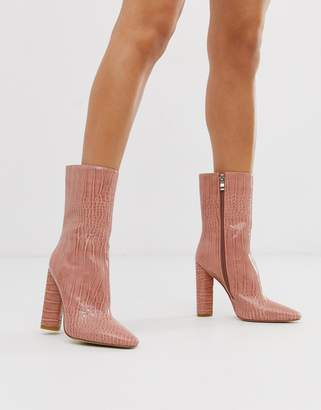 Simmi Shoes Simmi London Katarina blush croc block heeled calf boots
