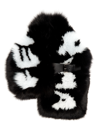 Logo-print fox-fur scarf