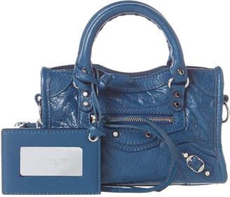 3b64866d638 Balenciaga Classic Silver City Nano Leather Shoulder Bag