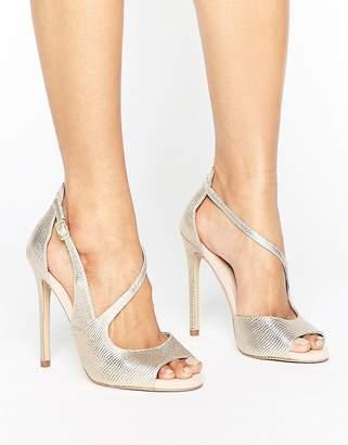 Carvela Geep Metallic Asymetric Strap Heeled Sandals