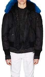 Off-White Men's Faux-Shearling-Hood Bomber Jacket - Black