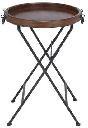 DecMode Decmode 28 Inch Traditional Round Pine Wood and Metal Tray Table, Brown