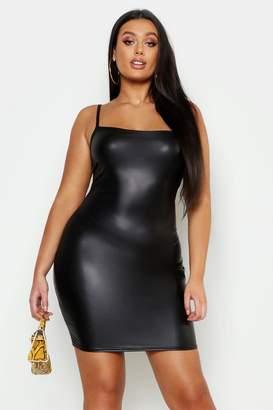 boohoo Plus Square Neck Leather Look Mini Dress