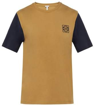 Loewe Logo Embroidered Contrast Sleeve Cotton T Shirt - Mens - Beige