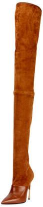 Balmain Amazone Thigh-High Suede Boot