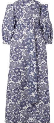 Lisa Marie Fernandez Rosie Off-the-shoulder Floral-print Linen Maxi Dress - Blue