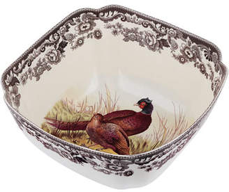 Spode Woodland Pheasant Deep Square Serving Bowl