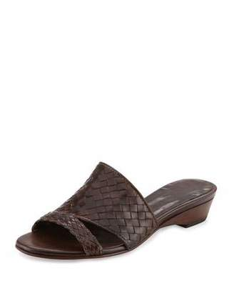 Sesto Meucci Gabri Woven Leather Slide Sandal, Dark Tan $325 thestylecure.com