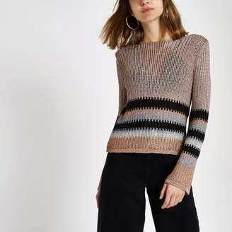 River Island Womens Pink metallic stripe knit crop top