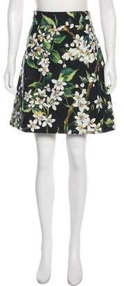 Dolce & Gabbana Orange Blossom Print Knee-Length Skirt w/ Tags