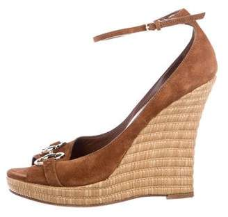 Gucci Suede-Trimmed Jute Wedges