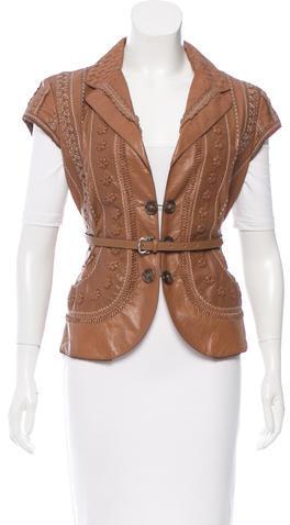 Bottega VenetaBottega Veneta Intrecciato-Accented Leather Jacket
