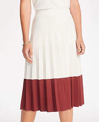 Ann Taylor Petite Colorblock Pleated Sweater Skirt