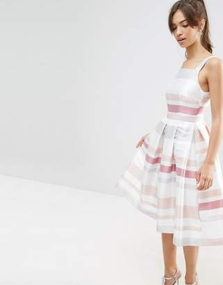 Asos Design Stripe Vintage Midi Prom Dress