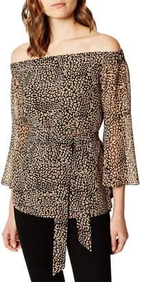 Karen Millen Off Shoulder Leopard Print Top - Leopard