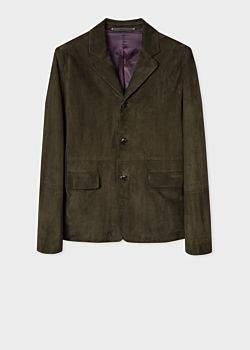 Paul Smith Men's Dark Green Suede Jacket