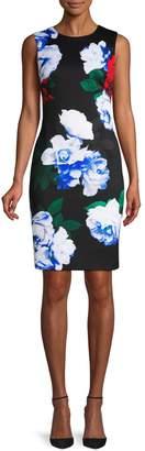 Calvin Klein Collection Rose Print Sheath Dress