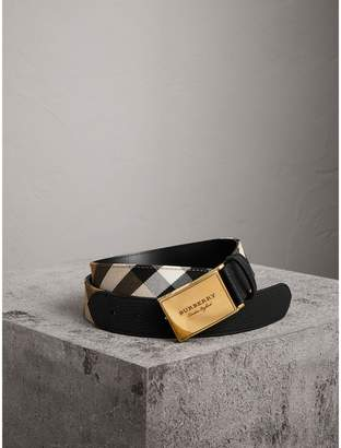 Burberry Plaque Buckle House Check and Leather Belt