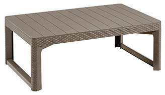Keter Allibert by Wicker Effect Lyon 2-in-1 Outdoor Garden Dining/Coffee Table - Cappuccino
