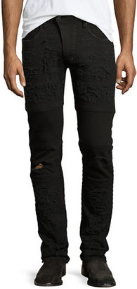 PRPS Marvel Windsor Distressed Stretch-Denim Moto Skinny Jeans $328 thestylecure.com