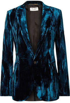 Saint Laurent Crushed-velvet Blazer - Cobalt blue