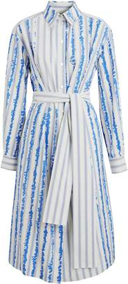Burberry Scribble Stripe Silk Cotton Shirt Dress