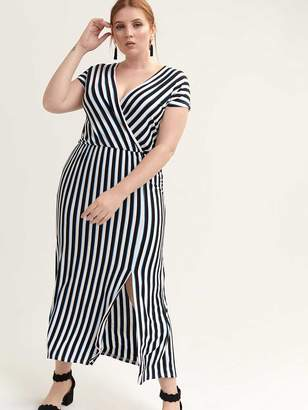 08b603907bd8 Faux-Wrap Striped Maxi Dress - Michel Studio